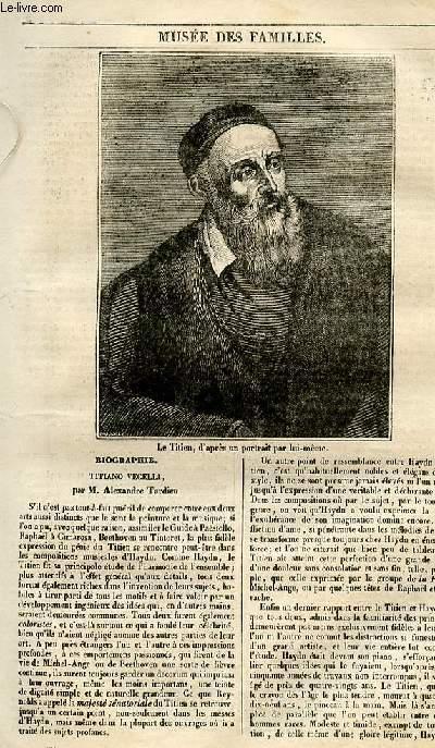Le musée des familles - lecture du soir - 1ère série - livraison n°12 - Biographie - Titiano Vecelli par Alexandre Tardieu.