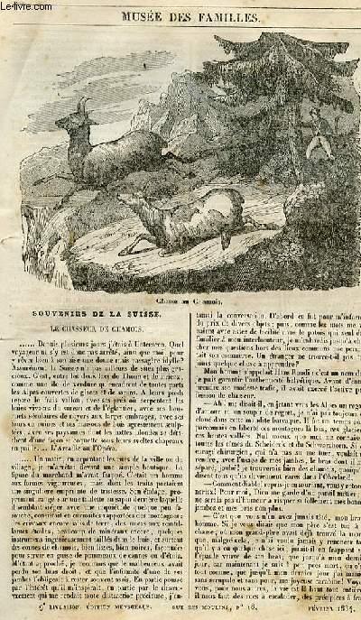 Le musée des familles - lecture du soir - 1ère série - livraison n°09 - Souvenirs de la Suisse - le chasseur de chamois.