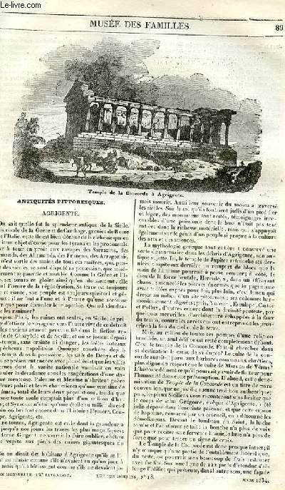 Le musée des familles - lecture du soir - 1ère série - livraison n°12 - Antiquités pittoresques - Agrigente.