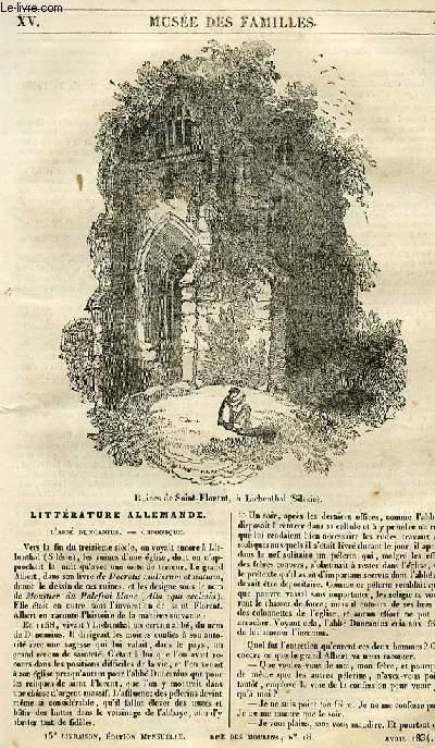 Le musée des familles - lecture du soir - 1ère série - livraison n°15 - Littérature allemande - L'abbé Duncanius - chronique.