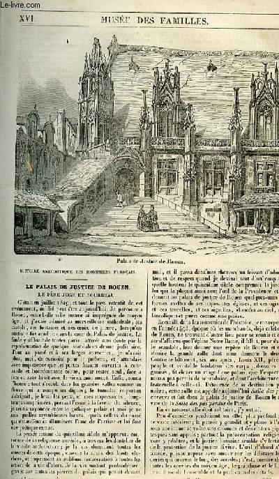 Le musée des familles - lecture du soir - 1ère série - livraison n°16 - le palais de justice de Rouen - le père juge et bourreau.