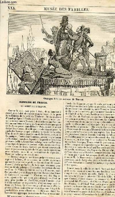 Le musée des familles - lecture du soir - 1ère série - livraison n° 30 - Histoire de France - La mort de Duranti.