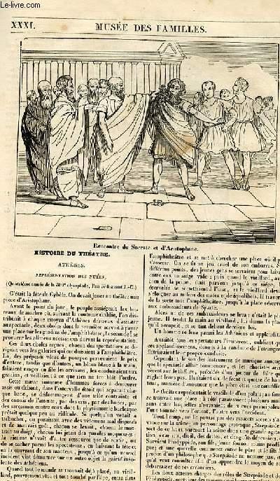 Le musée des familles - lecture du soir - 1ère série - livraison n° 31 - Histoire du théâtre - Athènes, représentation des nuées.