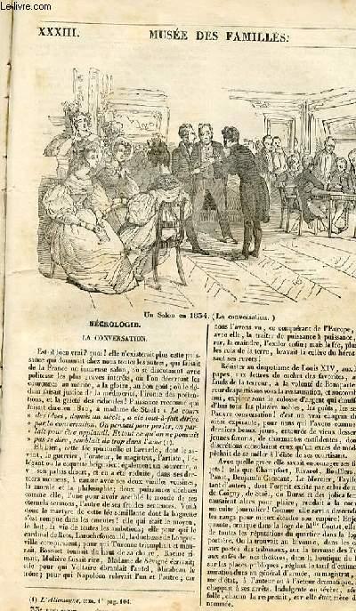Le musée des familles - lecture du soir - 1ère série - livraison n°33 - Nécrologie - la conversation.
