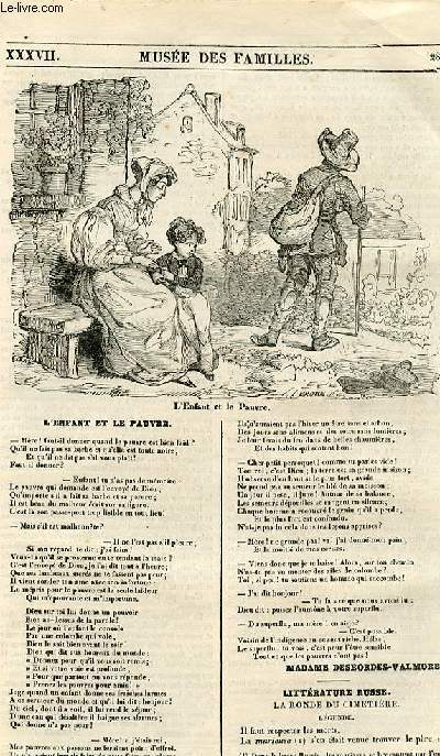 Le musée des familles - lecture du soir - 1ère série - livraison n°37 - L'enfant et le pauvre, poème par Madame Desbordes valmore.