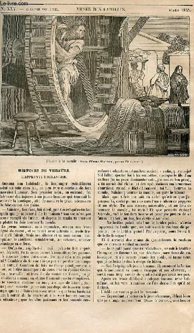 Le musée des familles - lecture du soir - 1ère série - livraison n°25 - Histoire du théâtre - L'apprenti boulanger.