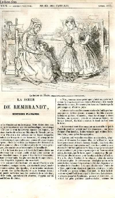 Le musée des familles - lecture du soir - 1ère série - livraisons n°29, 30 et 31  - La soeur de Rembrandt , histoire flamande par Henry Berthoud.