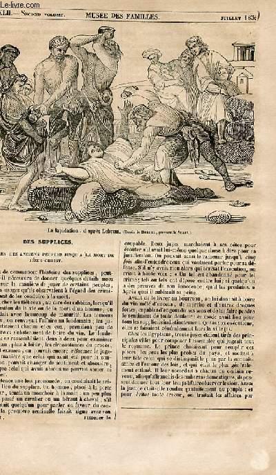 Le musée des familles - lecture du soir - 1ère série - livraison n°42 - Des supplices, numéro spécial.