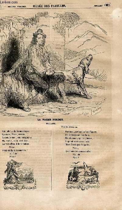 Le musée des familles - lecture du soir - 1ère série - livraison n°43 - La vache perdue , ballade.