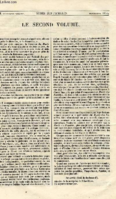 Le musée des familles - lecture du soir - 1ère série - livraison n°52 - Le second volume.