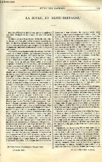 Le musée des familles - lecture du soir - 1ère série - livraisons n°19 et 20 - La Soule, en Basse Bretagne par Souvestre.