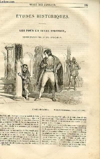 Le musée des familles - lecture du soir - 1ère série - livraison n°41 et 42 - Etudes historiques - Les fosu en titre d'office ,depuis Charles VIII jusqu'à François Premier par Paul L. Jacob.