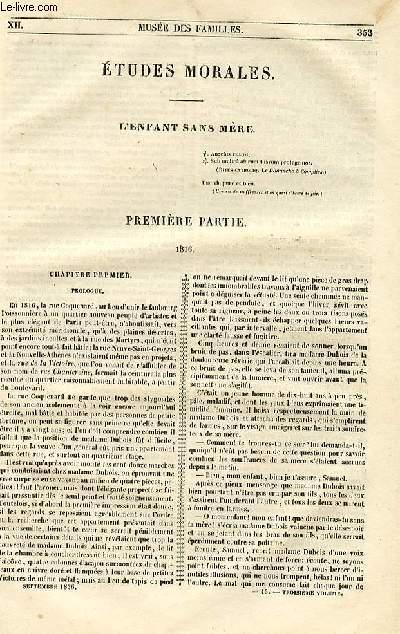 Le musée des familles - lecture du soir - 1ère série - livraisons n°45,46 et 47 - Etudes morales - L'enfant sans mère par Henry Berthou,roman..