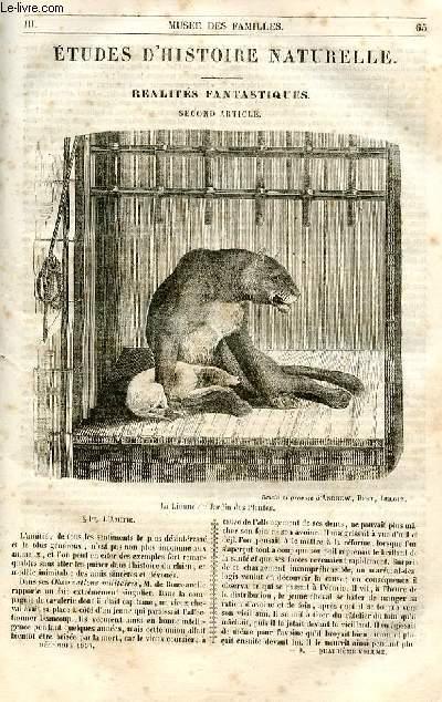 Le musée des familles - lecture du soir - 1ère série - livraison n°09 et 10 - Etudes d'histoire naturelle - Réalités fantastiques, second article.