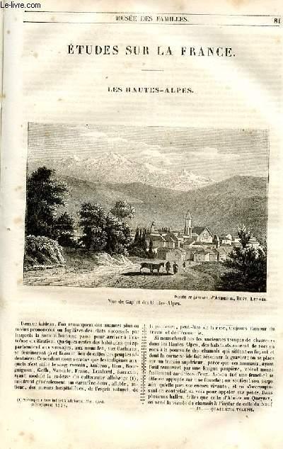 Le musée des familles - lecture du soir - 1ère série - livraisons n°11 et n°12- Etudes sur la France - les Hautes Alpes par le baron de la doucette, ancien préfet des hautes Alpes.