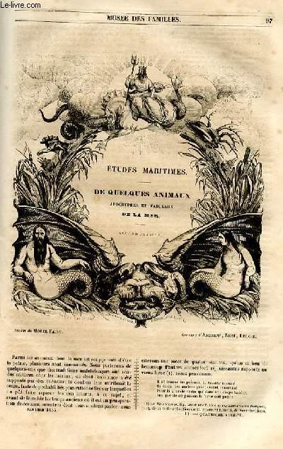 Le musée des familles - lecture du soir - 1ère série - livraison n°13 - Etudes maritimes de quelques animaux apocryphes et fabuleux de la mer, second article apr Jules LEcomte.