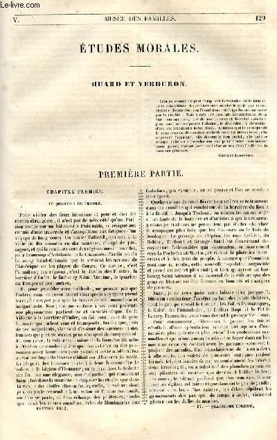 Le musée des familles - lecture du soir - 1ère série - livraisons n°17 et 18-  Etudes morales - Huard et Verduron par Henry Berthoud.