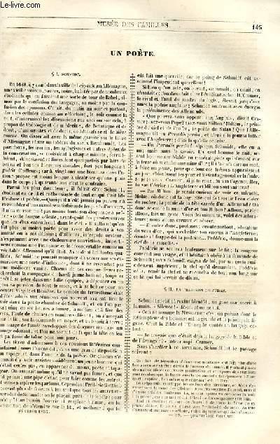 Le musée des familles - lecture du soir - 1ère série - livraisons n°19 et 20 - Un poète  par Adrien van Moersel.