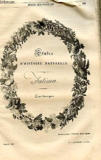 Le musée des familles - lecture du soir - 1ère série - livraisons n°37, 38 et 39 - Etudes d'histoire naturelle - Fatima , conte botanique par Boitard.