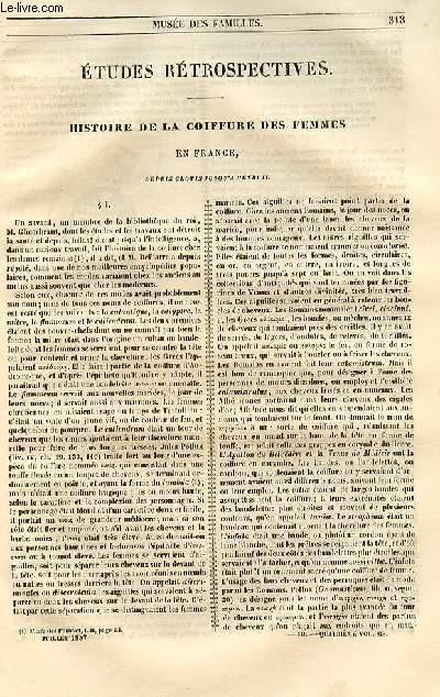 Le musée des familles - lecture du soir - 1ère série - livraison n°40 - Etudes rétrospectives - Histoire de la coiffure des femmes en France depuis Clovis jusqu'à Henri II.