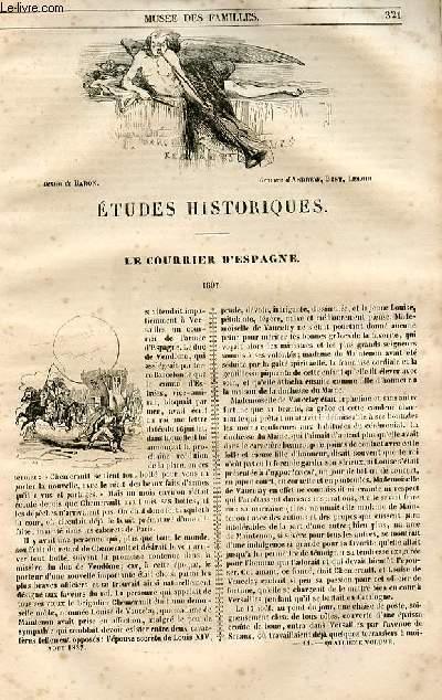 Le musée des familles - lecture du soir - 1ère série - livraison n°41 et 42 - Etudes historiques - Le courrier d'Espagne (1697).