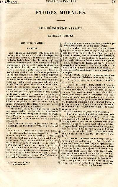 Le musée des familles - lecture du soir - 1ère série - livraisons n°05 et 06 - Etudes morales - le phénomène vivant, suite - second partie par Berthoud.