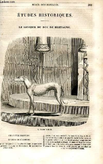 Le musée des familles - lecture du soir - 1ère série - livraisons n°27 et 28 - Etudes historiques - Le lévrier du duc de Bretagne par Chevalier.