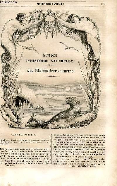 Le musée des familles - lecture du soir - 1ère série - livraison n°29 - Etudes d'histoire naturelle - les mammifères marins par Boitard.