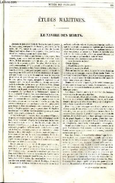 Le musée des familles - lecture du soir - 1ère série - livraison n°16 - Etudes maritimes - Le navire des morts  par A. patersi de Fossombroni.