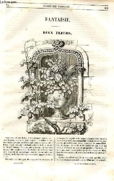 Le musée des familles - lecture du soir - 1ère série - livraisons n°21 et 22 - Fantaisie - Deux fleurs par Alphonse Karr.