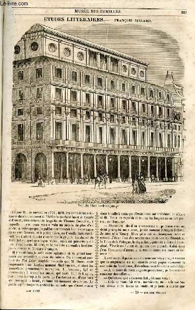 Le musée des familles - lecture du soir - 1ère série - livraisons n°29 et 30 - Etudes littéraires - François Billard par Charles Lafont.