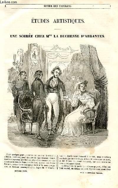 Le musée des familles - lecture du soir - 1ère série - livraison n°01 -  Etudes artistiques - Une soirée chez Mme la duchesse d'Abrantès.