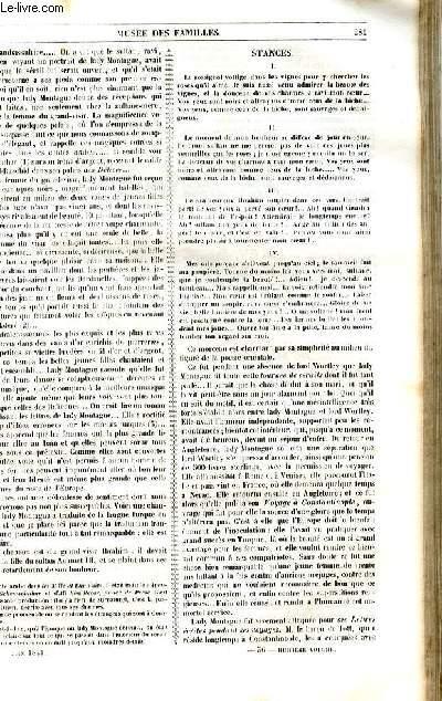 Le musée des familles - lecture du soir - 1ère série - livraison n°36 - Milady Montague par D'Abrantès, suite et fin.