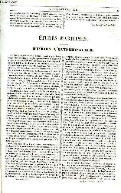 Le musée des familles - lecture du soir - 1ère série - livraison n°07 et 08 - Monbars l'exterminateur par Hippolyte castille.