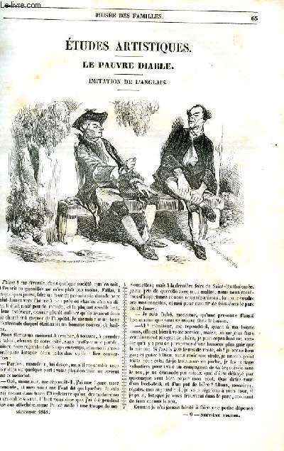 Le musée des familles - lecture du soir - 1ère série - livraison n°09 - Etudes artisitiques - Le pauvre diable , imitation de l'anglais par Henry Monnier.