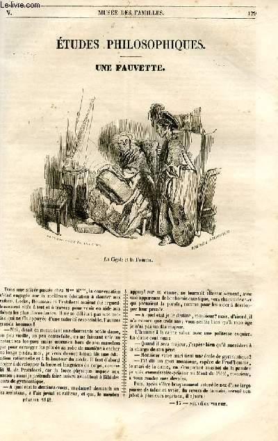 Le musée des familles - lecture du soir - 1ère série - livraison n°17 et 18 - Etudes philosophiques - Une fauvette par X. B. Saintine.