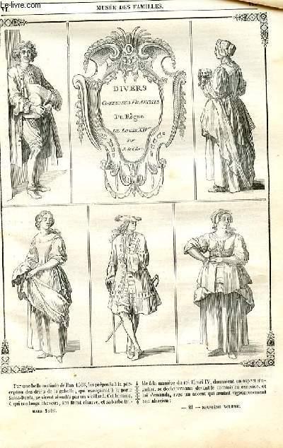 Le musée des familles - lecture du soir - 1ère série - livraison n°21 - Divers costumes français du règne de Louis XIV par S. Le Clerc.