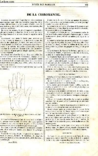 Le musée des familles - lecture du soir - 1ère série - livraison n°24  - De la chiromancie par D.V.