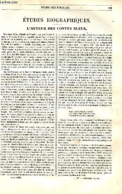 Le musée des familles - lecture du soir - 1ère série - livraison n°27 et 28 - Etudes buiographiques  - L'auteur des contes bleus par Jacob.