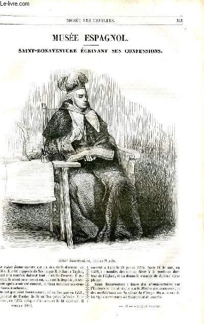 Le musée des familles - lecture du soir - 1ère série - livraison n°40 - Musée espagnol - Saint Bonaventure écrivant ses confessions.
