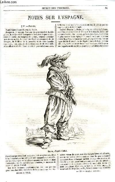 Le musée des familles - lecture du soir - livraison n°11 et 12  - Notes sur l'Espagne  par Roger de Beauvoir.