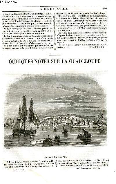 Le musée des familles - lecture du soir - livraisons n°27 et 28 - Quelques notes sur la Guadeloupe par A. P. de la Pointe à Pitre.