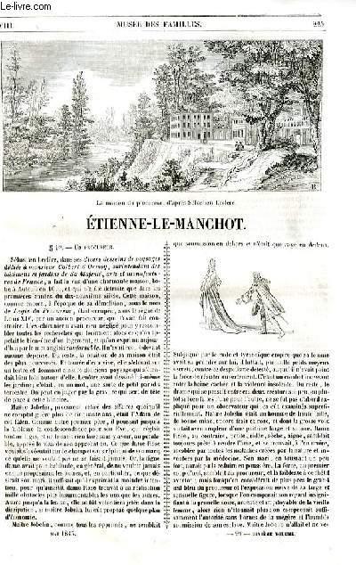 Le musée des familles - lecture du soir - livraison n°29 et 30 - Etienne Le Manchot  par Berthoud, à suivre.