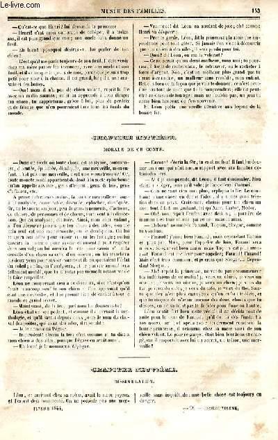 Le musée des familles - lecture du soir - deuxième série - livraison n°20  - Suite et fin  du Chien volant, conte pour enfants, par Mme De Girardin.