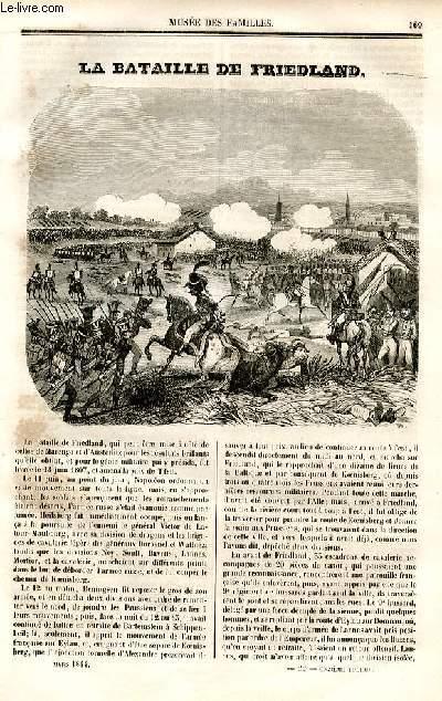 Le musée des familles - lecture du soir - deuxième série - livraison n°22 et 23  - La bataille de friedland  par ALexandre Dumas, à suivre.