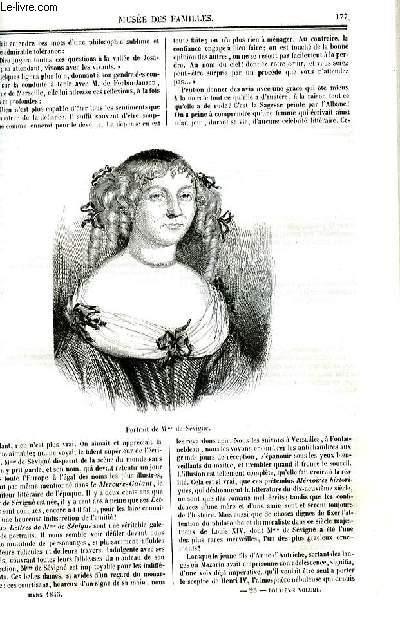 Le musée des familles - lecture du soir - deuxième série - livraison n°23 - Essai sur madame de Sévigné par Elise Moreau,suite et fin.