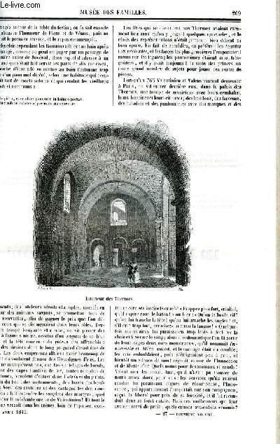 Le musée des familles - lecture du soir - deuxième série - livraison n°27 et 28  - Histoire de l'art - musée des thermes et de l'hôtel de Cluny, suite.