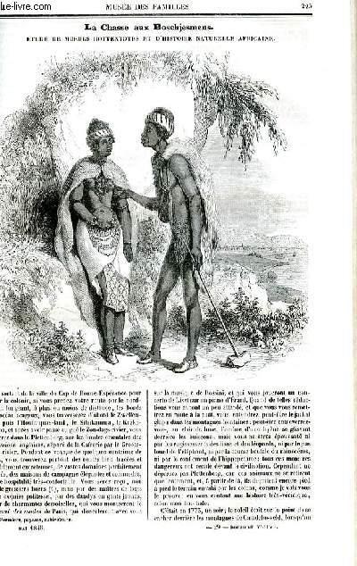 Le musée des familles - lecture du soir - deuxième série - livraison n°29 et 30 - La chasse aux boschjesmens, étude de moeurs hottentotes et d'histoire naturelle africaine.