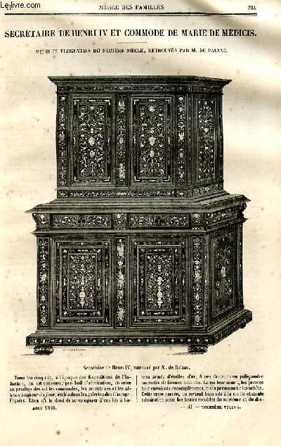 Le musée des familles - lecture du soir - deuxième série - livraison n°41et 43 - Secrétaire de Hneri IV et commode de Marie de Médicis, meubles florentins du 16ème siècle par De Balzac (pas l'article).