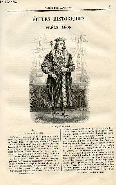 Le musée des familles - lecture du soir - deuxième série - livraison n°10 - Etudes historiques - Frèrre Léon par E. du MOlay Bacon.